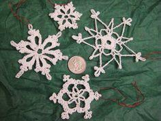 Crocheted Snowflake Christmas Ornaments