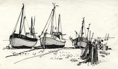 Paul Sharp - 1964 Pen and Ink Drawing, Hythe Fishing Boats - Sulis ...