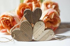 Mended Hearts, Set of Three, Heart Ornaments, Reclaimed wood hearts, 5th anniversary, Wedding gift, Couple Gift, New Baby Gift, Parents Gift