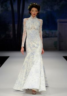 TOILE FRANCAIS    Spring 2012  French blue and ivory cotton toile with lace insets, long sleeves and oval lace  inset back.