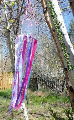 upcycle water bottle, crafts with water bottles, spring crafts for kids, windsock crafts for kids