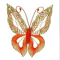 Paličkovaná dekorace - motýl / Zboží prodejce Babiččino paličkování | Fler.cz Bobbin Lace, Butterfly, Bobbin Lacemaking, Butterflies, Papillons, Animaux, Easter Activities