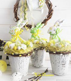 Купить Пасхальный зайчик в горшочке маленький - Пасха, весна, желтый, зайчик, Декор, подарок на Пасху