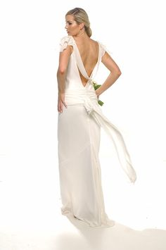 Yvette gown ivory georgette with applique back