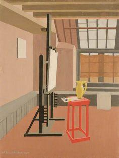 "thunderstruck9: ""Wilhelmina Barns-Graham (British, 1912-2004), Studio Interior (Red Stool), 1945. Oil on canvas, 60 x 45.6 cm. """
