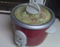 You can make chicken and dumplings in the rice cooker.(I use broth in place of milk in my dumplings)