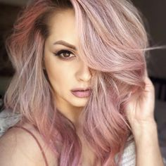 Hair Dye Colors, Ombre Hair Color, Hair Color Balayage, Blonde Balayage, Hair Highlights, Color Highlights, Hair Colour, Peach Hair Colors, Unicorn Hair Color