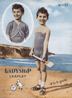 Vintage swim suit sun suit knitting pattern for boys child children kids 1940s