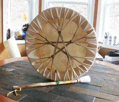 ... rawhide drum lacing & drum stick | David Keffer handmade Native A