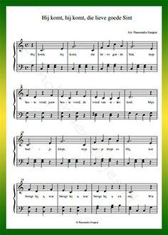 Hij komt, hij komt, die lieve goede Sint - Gratis bladmuziek van kinderliedjes in eenvoudige zetting voor piano. Piano leren spelen met bekende liedjes.