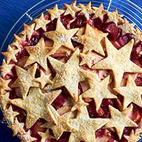 Apple, Rhubarb, and Raspberry Pie with Almond Star Crust | Traditional Home