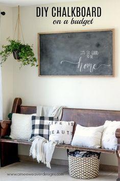 DIY Chalkboard on a Budget - Aimee Weaver Designs LLC #AimeeWeaverDesigns #DIYhomedecor Do it yourself home decor #diywoodwork Cardboard Box Crafts, Cardboard Castle, Chalkboard Drawings, Chalkboard Lettering, Chalkboard Wall Bedroom, Bedroom Wall, Cinder Block Bench, Large Chalkboard, Do It Yourself Home