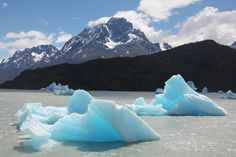 Icebergs Calved From Grey Glacier, Floating in Lago Grey, Torres Del Paine National Park, Chile www.greenglobaltravel.com #ecotourism #chile #iceberg #glacier
