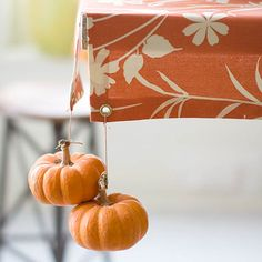 Miniature pumpkins make adorable tablecloth weights for a festive get-together. More ideas for fall parties: http://www.bhg.com/decorating/seasonal/fall/fall-party-projects/?socsrc=bhgpin102912minipumpkintable#page=5