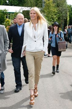 At an appearance for her book in London, Gwyneth Paltrow opted for a crisp white blazer with equally cool cropped khaki pants.