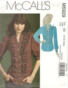 McCall's 5929 Fitted blouse with front ruffles on button placket. Sizes 14-20. 3 yds for 20. Cotton blends, challis, crepe de chine, chambray, silk crepe, double georgette. 2009. Bought in McCall's out-of-print sale for $ 1.99.