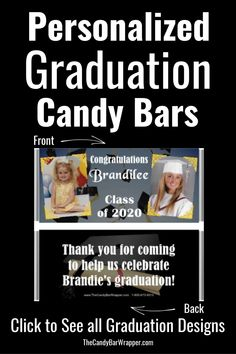 If you are looking for graduation party favors, these personalized graduation candy bars are perfect!  Everyone loves chocolate and will love receiving these party favors.  Many different graduation designs are available to choose from.  Click to see them all.  #graduation, #graduationfavors, #graduationpartyfavors, #graduationideas Graduation Party Favors, Candy Wrappers, High School Graduation, Graduation Pictures, Candy Bars, Love Chocolate, Class Of 2020, Elementary Schools, Candy Cards
