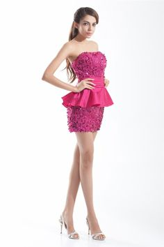 osell wholesale dropship bling bling Taffeta & Sequins Strapless Mini Cocktail Prom Dress $79.28