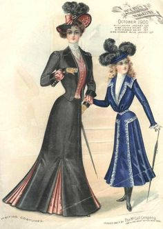 Vintage pattern ad - McCall's October 1900 - Walking Costumes for Ladies & Young Ladies - Jackets & Skirts.