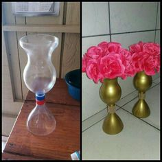 Make A Candle Holder With Plastic Bottles Reuse Plastic Bottles, Plastic Bottle Flowers, Plastic Bottle Crafts, Diy Bottle, Recycled Bottles, Recycled Crafts, Diy And Crafts, Crafts For Kids, Paper Crafts
