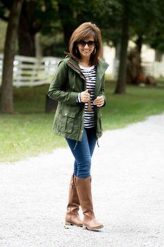 Fall Fashion-Military Jacket with Stripe Tee - Grace & Beauty