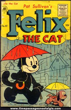Cover art for Pat Sullivan's Felix the Cat issue no. based on the comic strip adventures of the Felix character, published by Toby Press, United States, by Otto Messmer. Comics Vintage, Vintage Cartoons, Fun Facts About Cats, Cat Facts, Classic Cartoon Characters, Cartoon Tv Shows, Classic Comics, Classic Cartoons, Comic Book Covers