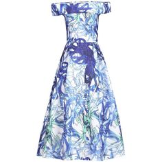 Jolie Moi 3D Tropical Print Bardot Dress, Blue ($105) ❤ liked on Polyvore featuring dresses, off shoulder maxi dress, maxi dresses, blue dress, holiday dresses and cap sleeve dress