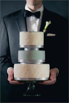 white and mint wedding Cake by dana