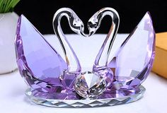 Graceful Kissing Swan Figurine Crystal Ornaments