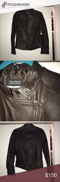 Authentic Italian made leather jacket - dark brown Authentic, hand made leather jacket. Worn a couple of times, great condition. Dark brown in color (photos don't do it justice). No size listed but fits perfectly for me and I am typically a size L Jackets & Coats
