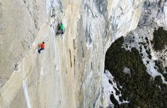 """Yosemite - Questions about, from NY Times.  Tommy Caldwell, left, and Kevin Jorgeson on one of the most challenging pitches of El Capitan's Dawn Wall in Yosemite National Park. <a href=""""http://www.nytimes.com/2015/01/05/sports/on-el-capitans-dawn-wall-two-climbers-make-slow-progress-toward-a-dream.html"""">Related Article</a>"""