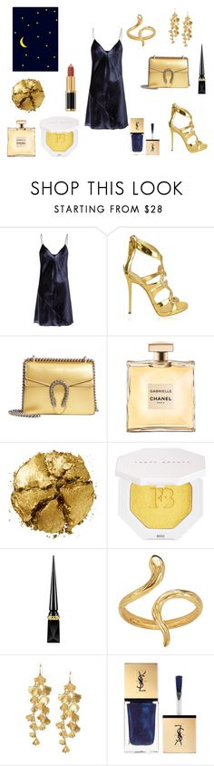 """Sky Full Of Stars Look"" by reasdailydiary ❤ liked on Polyvore featuring Fleur du Mal, Giuseppe Zanotti, Gucci, Pat McGrath, Puma, Christian Louboutin, Madina Visconti di Modrone, Tory Burch, Yves Saint Laurent and Balmain"