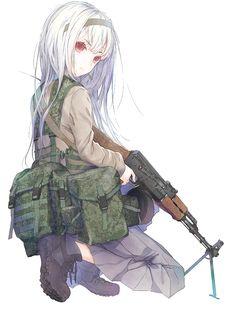 Anime girl with gun Girls Anime, Cool Anime Girl, Manga Girl, Anime Art Girl, Anime Guys, Chica Anime Manga, Kawaii Anime, Anime Zone, Guerra Anime