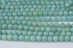 amazonite bead, 8mm round, bead, semiprecious stone, blue stone, aqua blue bead, jewelry bead