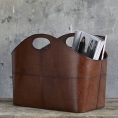 Curved Leather Storage Basket by Life of Riley, the perfect gift for Explore more unique gifts in our curated marketplace. Wedding Gifts For Bride And Groom, Bride Gifts, Wedding Gift List, Costura Diy, Couple Presents, Leather Luggage Tags, Leather Bags, Magazine Holders, Leather Projects