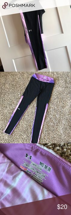 Under Armour HeatGear Compression Leggings For you long-legged ladies (read: NOT ME!), these Under Armour HeatGear compression full-length leggings are a steal of a deal, and a great addition to your workout wardrobe! Never worn for a workout - NWOT - offers welcome! Under Armour Pants Leggings
