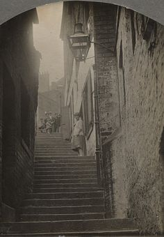 Stairs Newcastle upon Tyne Unknown 1924 Old Pictures, Old Photos, Local History, Family History, Local Studies, Black N White Images, Black And White, North East England, Industrial Photography