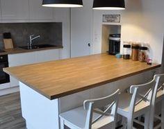 kuchnia z wyspą z drewnianym blatem