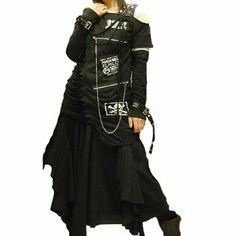 Amazon.co.jp: ヴィジュアル V系 パンク バイカラー アシメ スカル Aライン Tシャツ チュニック 55-8138 BLK: 服&ファッション小物