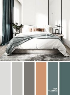 Grey Bedroom Colors, Dark Blue Bedrooms, Gray Bedroom Walls, Bedroom Colour Palette, Bedroom Color Schemes, Bedroom Green, Master Bedroom Design, Modern Bedroom, Color Schemes With Gray
