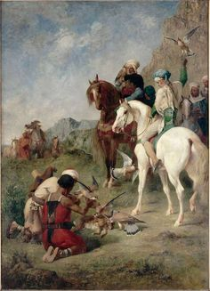 Falcon Hunting In Algeria: 1862 by Eugène Fromentin (Musee d'Orsay, Paris, France) - Academic Classicism