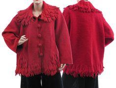 Handmade boho jacket coat boiled wool in red / от classydress