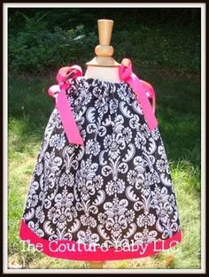 black and white damask and hot pink baby dress - Google Search & Orange Women\u0027s Pillowcase Dress; Long Lined Summer Dress | I\u0027d ... pillowsntoast.com