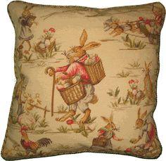 Rabbits on Cream Needlepoint Pillow