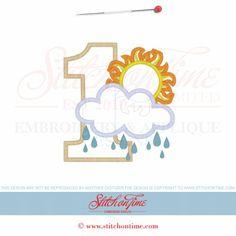 2 Cloud : 1 with Cloud Sun Rain Applique 5x7