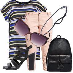 Un+look+semplice+e+divertente+per+le+nostre+curvy,+maglia+oversize+a+righe+bianche+blu,+beige+e+gialle,+sandali+del+tacco+alto+ma+comodo,+pantalone+color+cipria+e+cinturino+per+spaccare+la+lunghezza+della+maglia.+Accompagnano+occhiali+da+sole+come+accessorio+must+e+zainetto+comodo,+porta+tutto+color+nero.