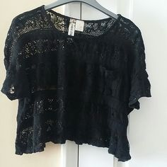 Top Black crop polyester and cotton lace top. Mimi Chica Tops Crop Tops