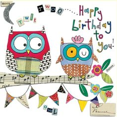 owls birthday card