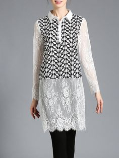 #AdoreWe #StyleWe Tops - AOFULI White Lace Pierced Shirt Collar Sexy Tunic - AdoreWe.net