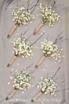 gypsophila baby's breath boutonniere - like the twigs and lightness of this style (not overloaded with baby's breath) Babys Breath Boutonniere, Boutonnieres, Babies Breath Bouquet, Babies Breath Wedding, Feather Boutonniere, Dream Wedding, Wedding Day, Wedding Events, Wedding Table